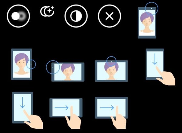 Picture showcasing how to operate the camera app on an Xperia tablet