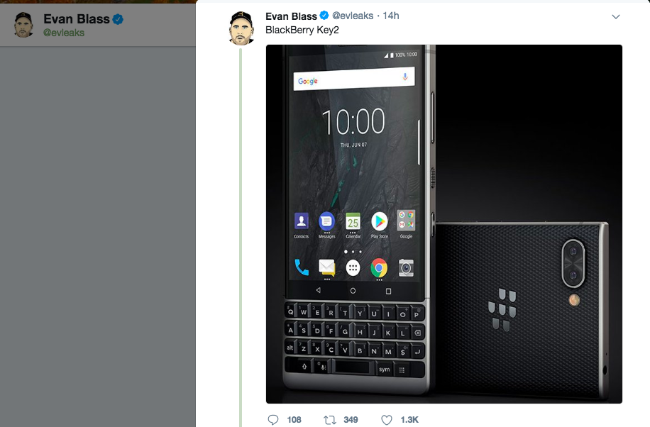 BlackBerry Key2 press renders leaked